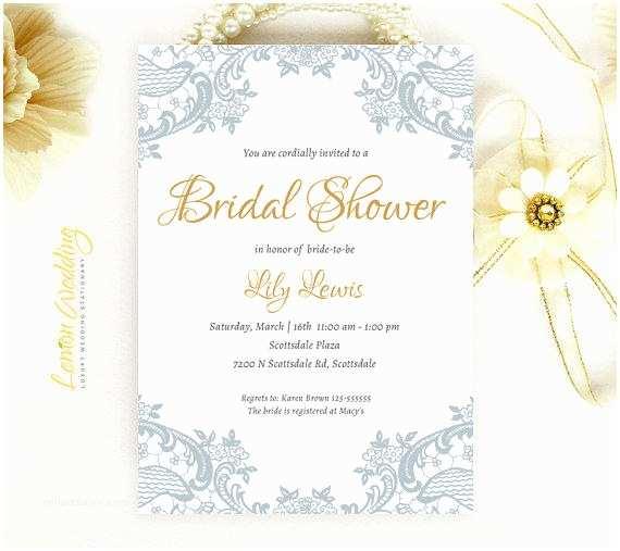 Elegant Wedding Shower Invitations Elegant Lace Bridal Shower Invitation From Lemonwedding