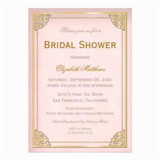 elegant vintage cornice pink gold bridal shower invitation