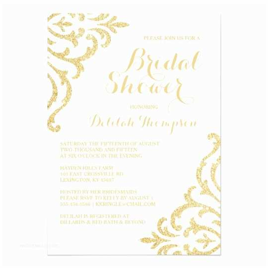 Elegant Wedding Shower Invitations Gold Vintage Glam Elegant Bridal Shower Invitation