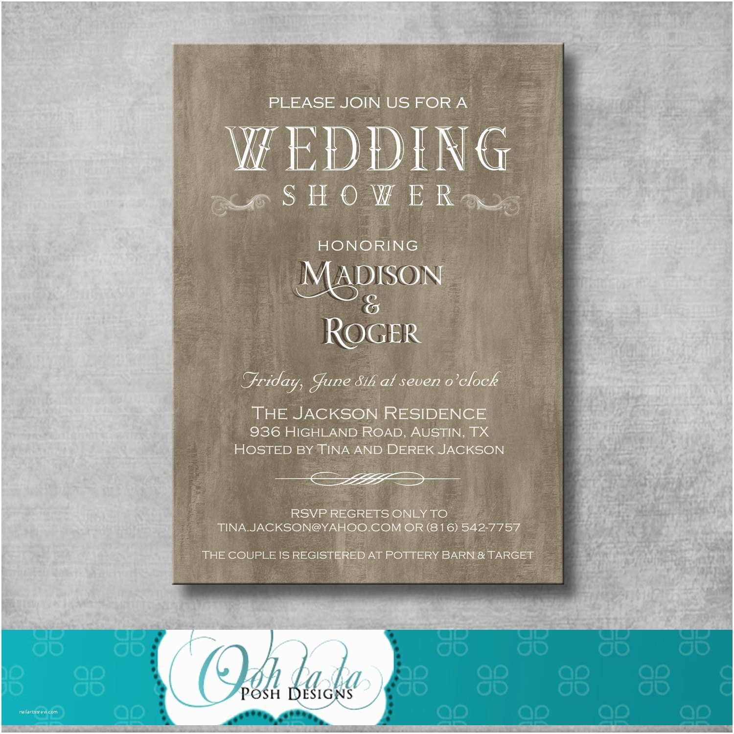 Elegant Wedding Shower Invitations Rustic Elegant Wedding Shower Invitation by Oohlalaposhdesigns