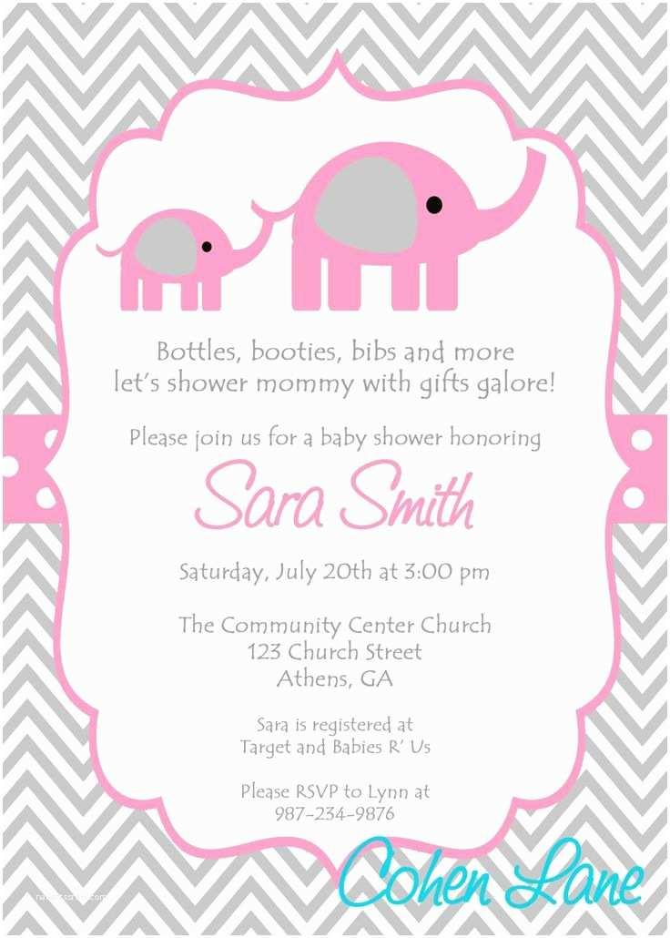 Elephant Baby Shower Invitation Baby Girl Baby Shower Invitations Templates Party Xyz