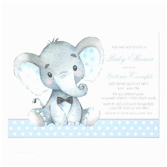 Elephant Baby Shower Invitation Elephant Baby Boy Shower Invitations