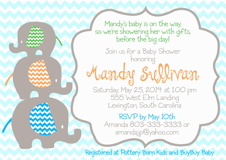 Elephant Baby Shower Invitation Elephant Invitations for Baby Shower