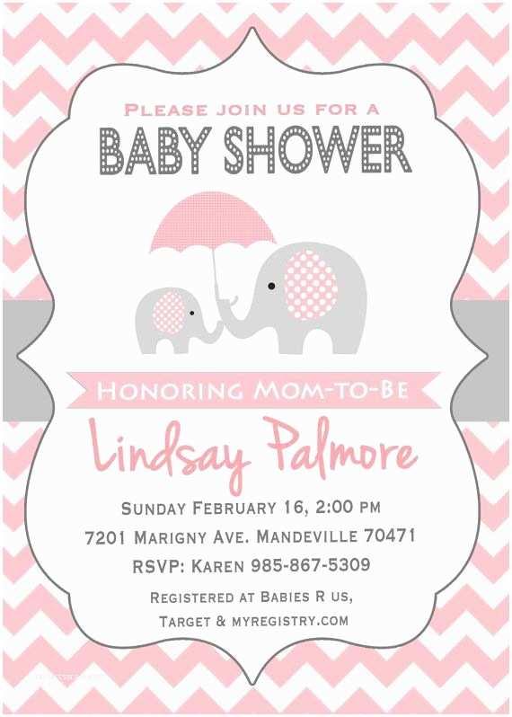 Elephant Baby Shower Invitation Pink Elephant Baby Shower Invitation Potlač