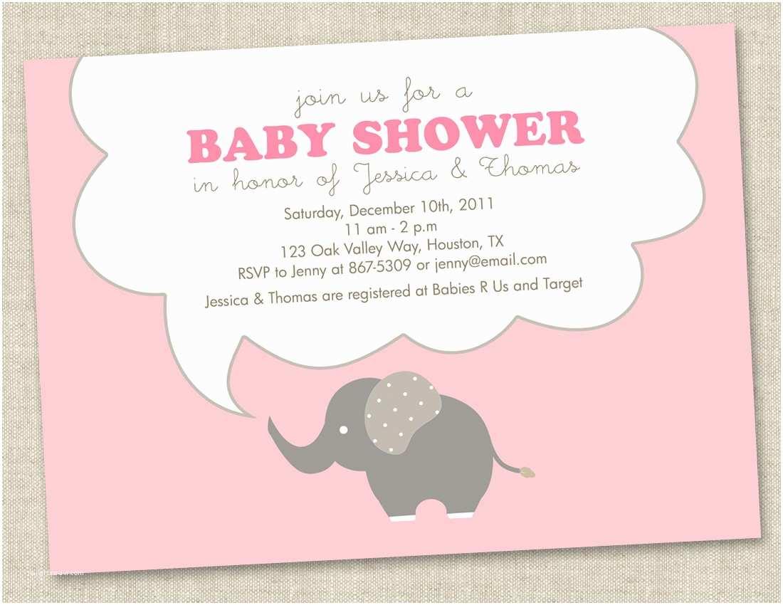 Elephant Baby Shower Invitation Pink Elephant Baby Shower Invitations Baby Girl by