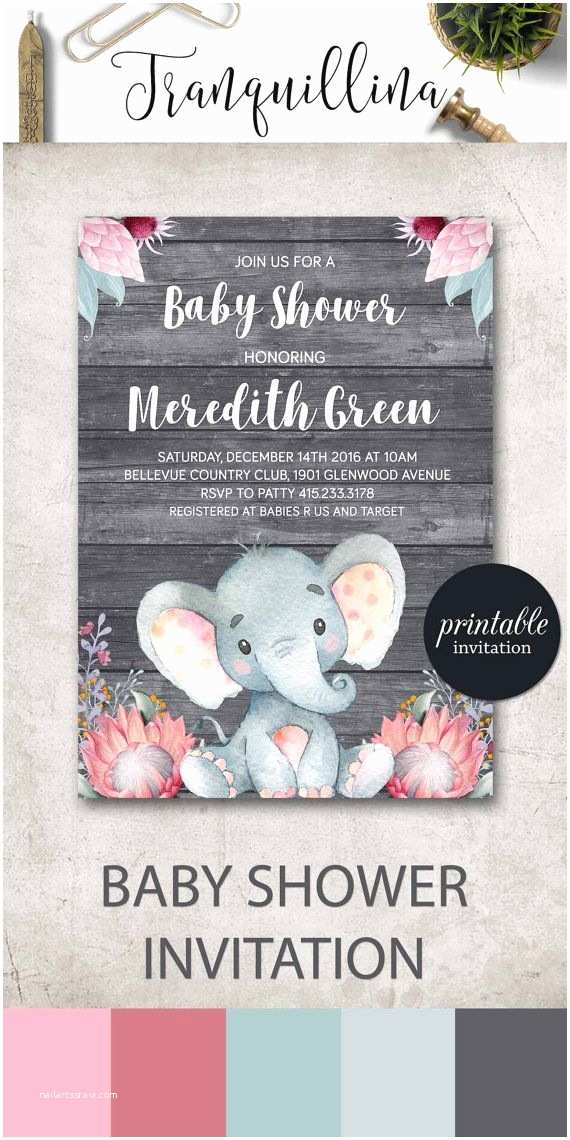 Elephant Baby Shower Invitation Safari Baby Shower Invitation Girl Elephant Baby Shower