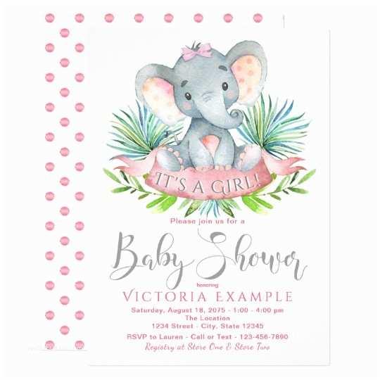 Elephant Baby Shower Invitations Girls Baby Elephant Baby Shower Invitations