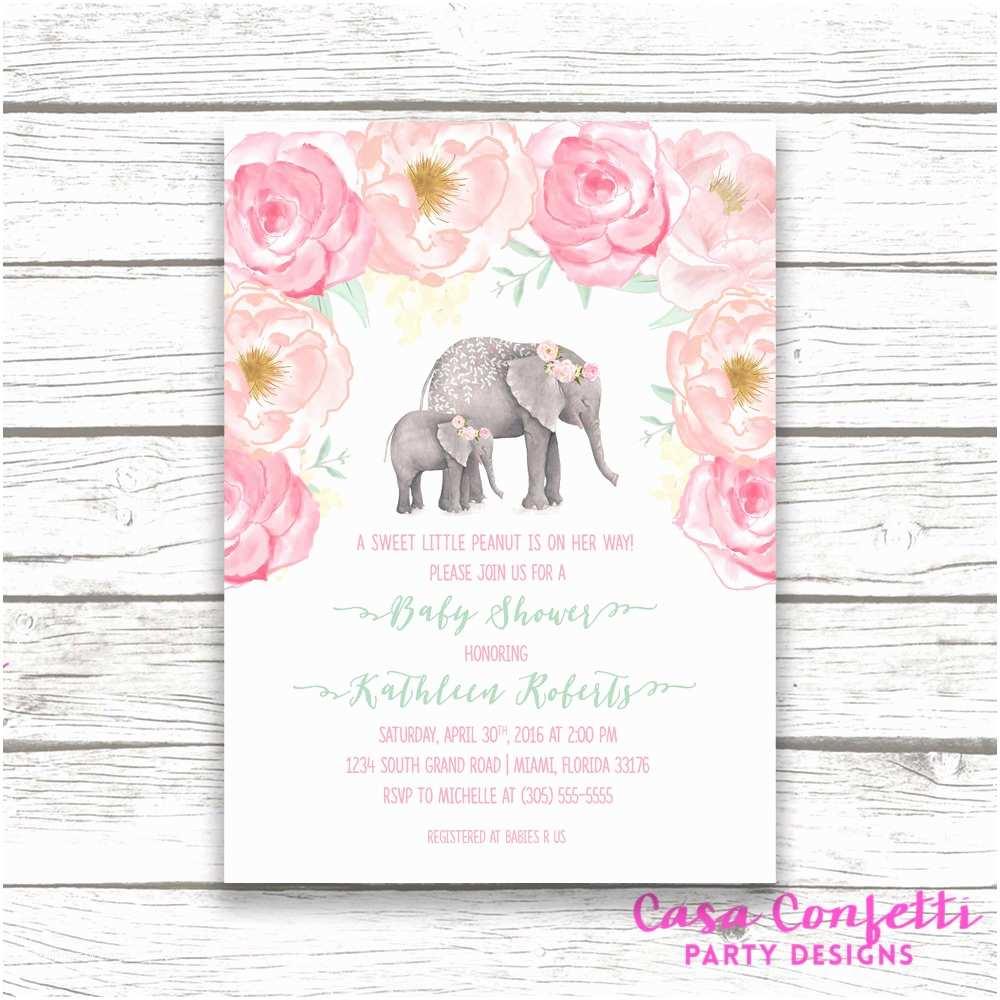 Elephant Baby Shower Invitations Pink Elephant Baby Shower Invitation Boho Baby Shower Floral