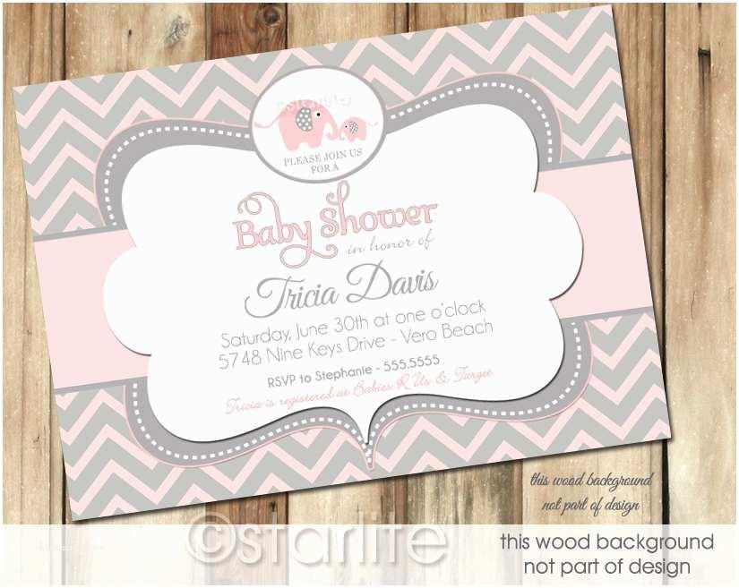 Elephant Baby Shower Invitations Starlite Printables Invitations Stationery Unique