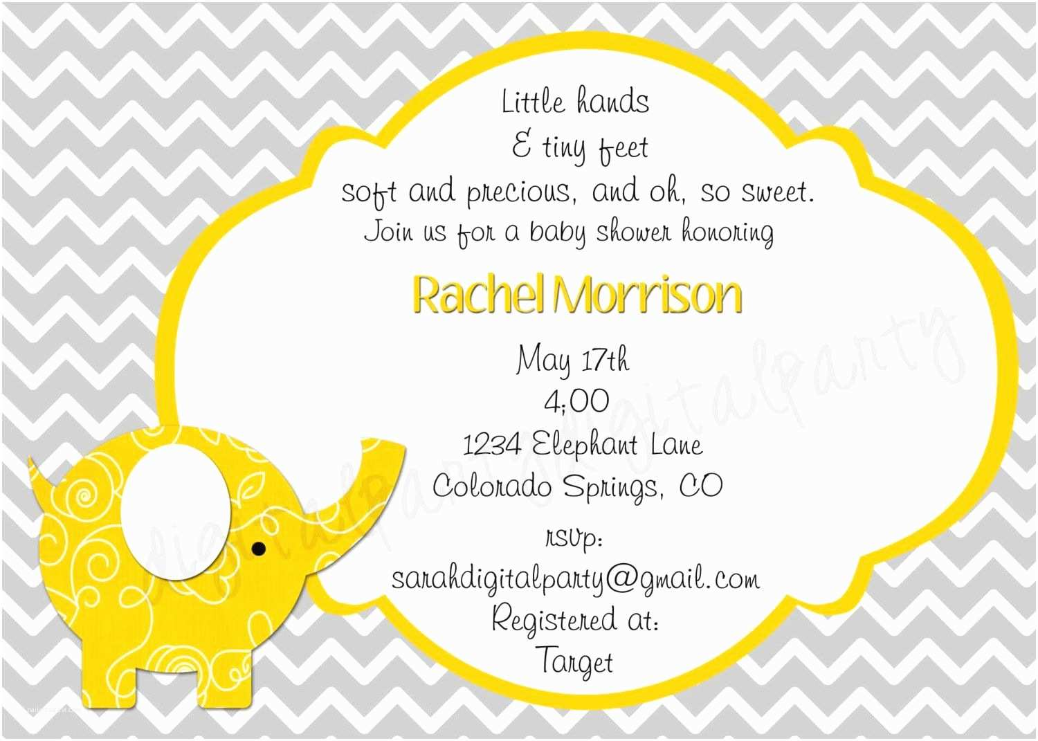 Elephant Baby Shower Invitations Yellow and Grey Elephant Baby Shower Invitation 4x6 or 5x7
