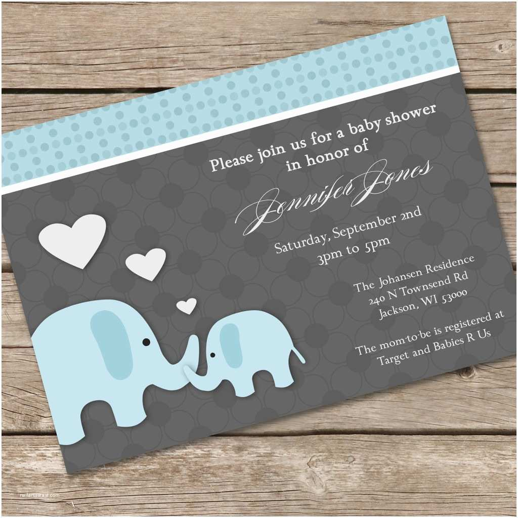 Elephant themed Baby Shower Invitations Baby Shower Elephant Invitations