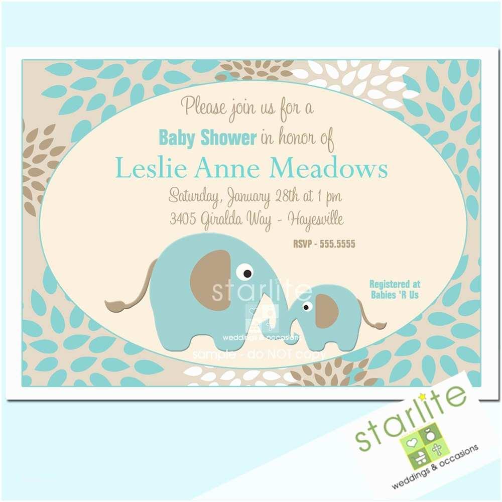 impressive elephant baby shower invitations cartoon