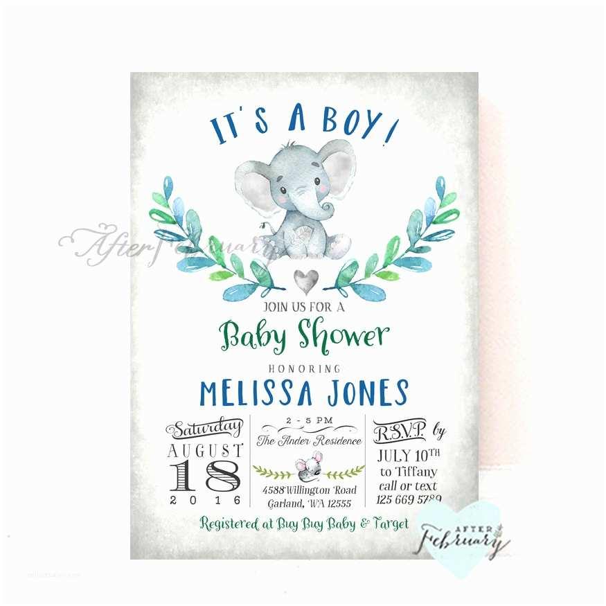 Elephant themed Baby Shower Invitations Elephant Baby Shower Invitation Boy Baby Shower Invitation