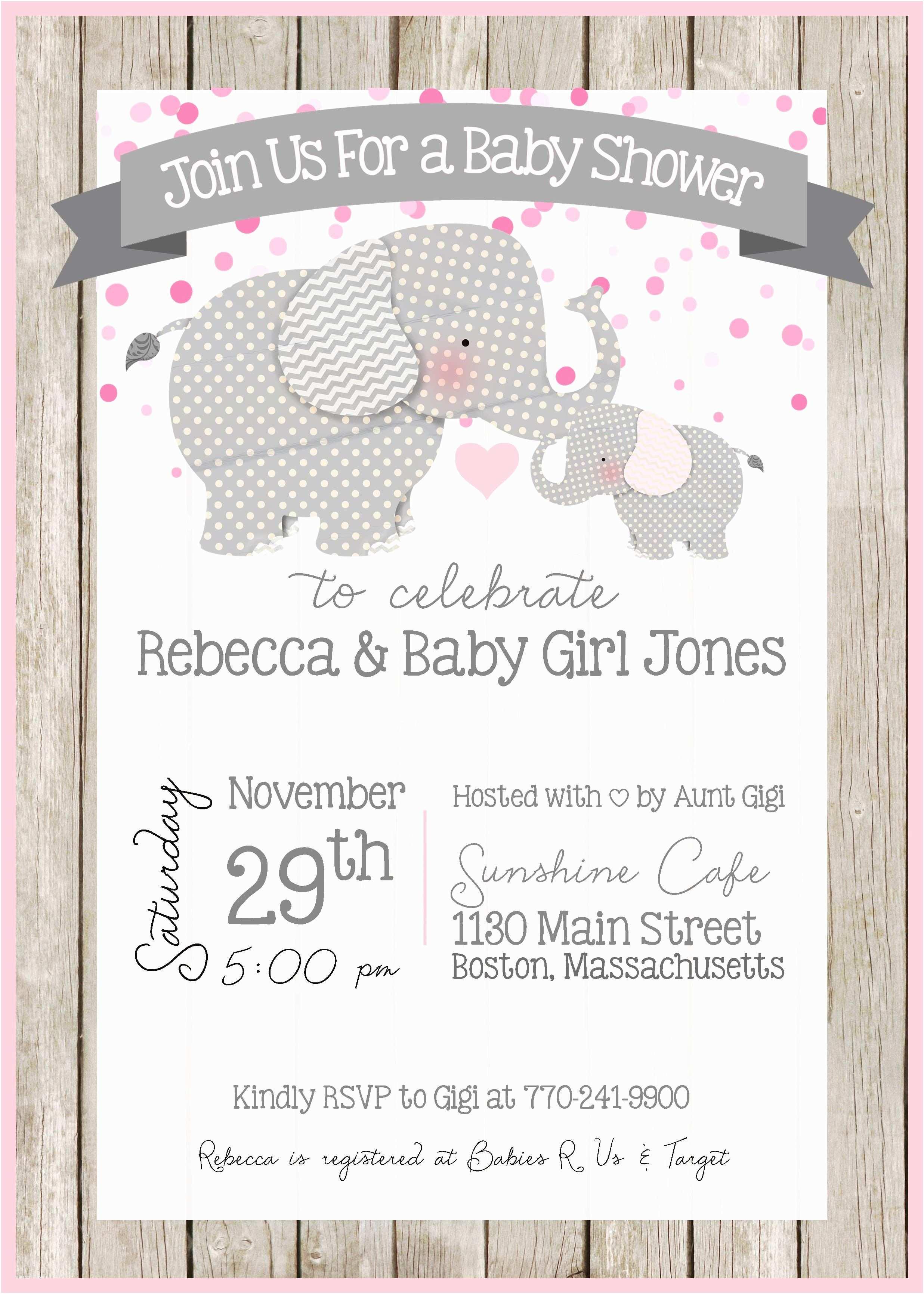 Elephant themed Baby Shower Invitations Elephant Baby Shower Invitation Elephant theme Little