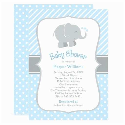 Elephant themed Baby Shower Invitations Elephant Baby Shower Invitations Blue and Gray