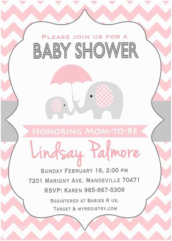 Elephant themed Baby Shower Invitations Pink Elephant Baby Shower Invitation Potlač