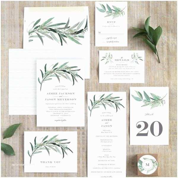 Elli Wedding Invitations Lush Greenery Wedding Invitations by Emily Crawford