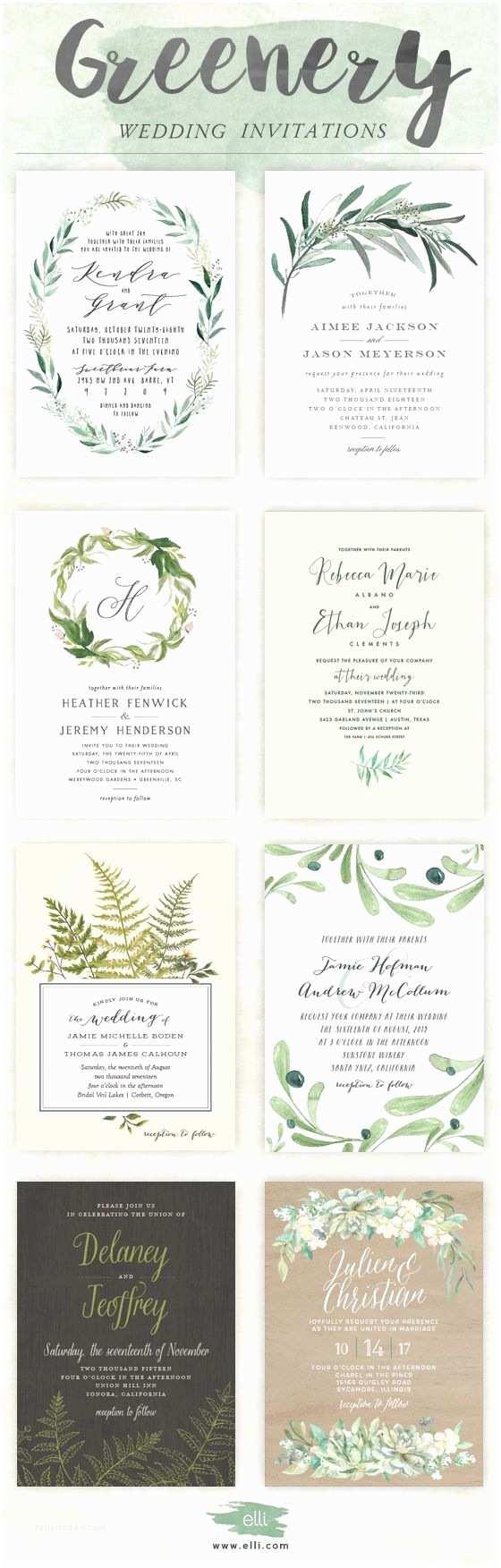 Elli Wedding Invitations Trending for 2017 Greenery Wedding Invitations From Elli