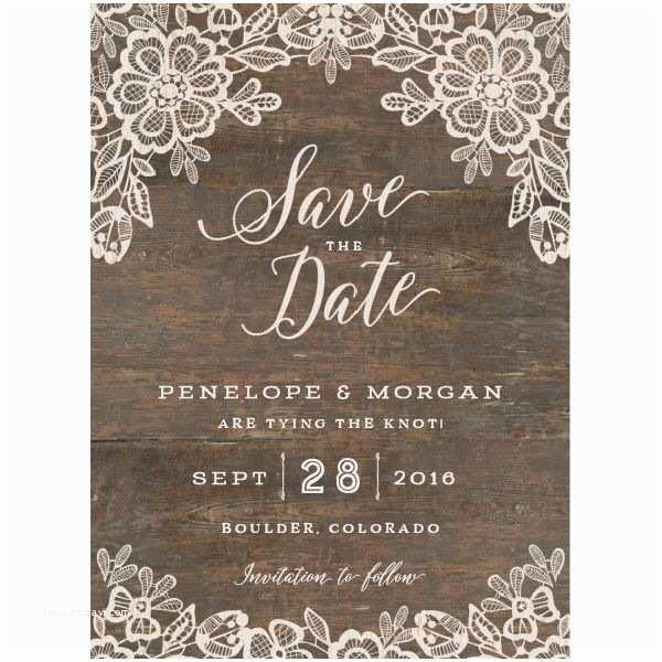 Elli Wedding Invitations Woodgrain Lace Save the Date Cards by Jennie Hake