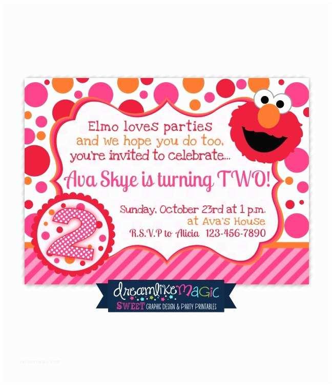 Elmo Birthday Invitations Printable Party Invitation Girly Elmo Pink orange and Red