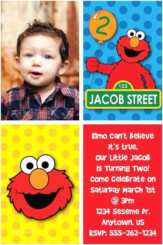 Elmo Birthday Party Invitations Custom Elmo Inspired Birthday Party Invitations or Thank