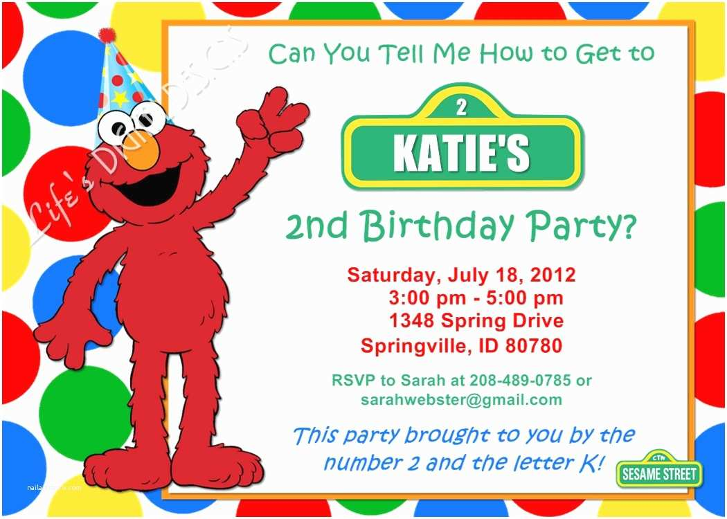 Elmo Birthday Party Invitations Elmo Birthday Invitation Red Green Yellow Blue Dots