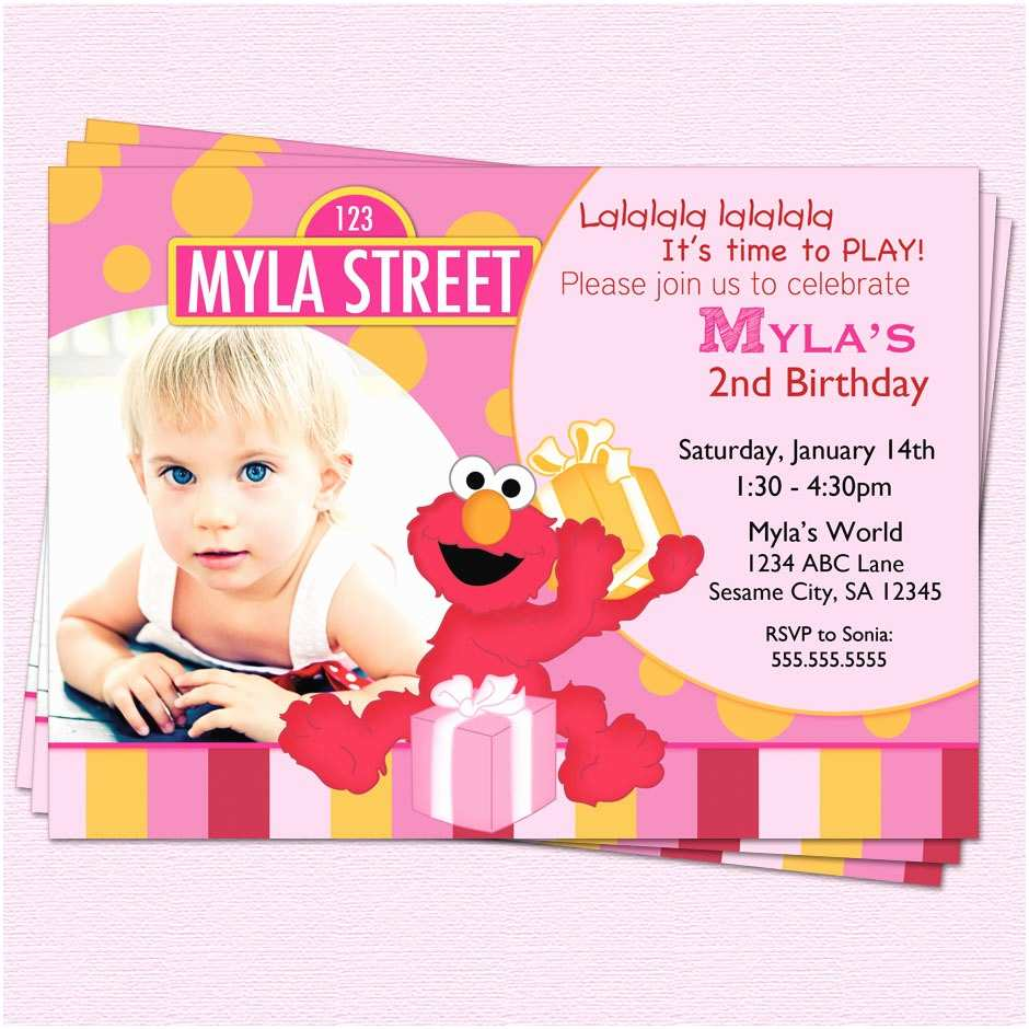 Elmo Birthday Party Invitations Elmo Birthday Invitation Sesame Street Girl by Cupcakedream
