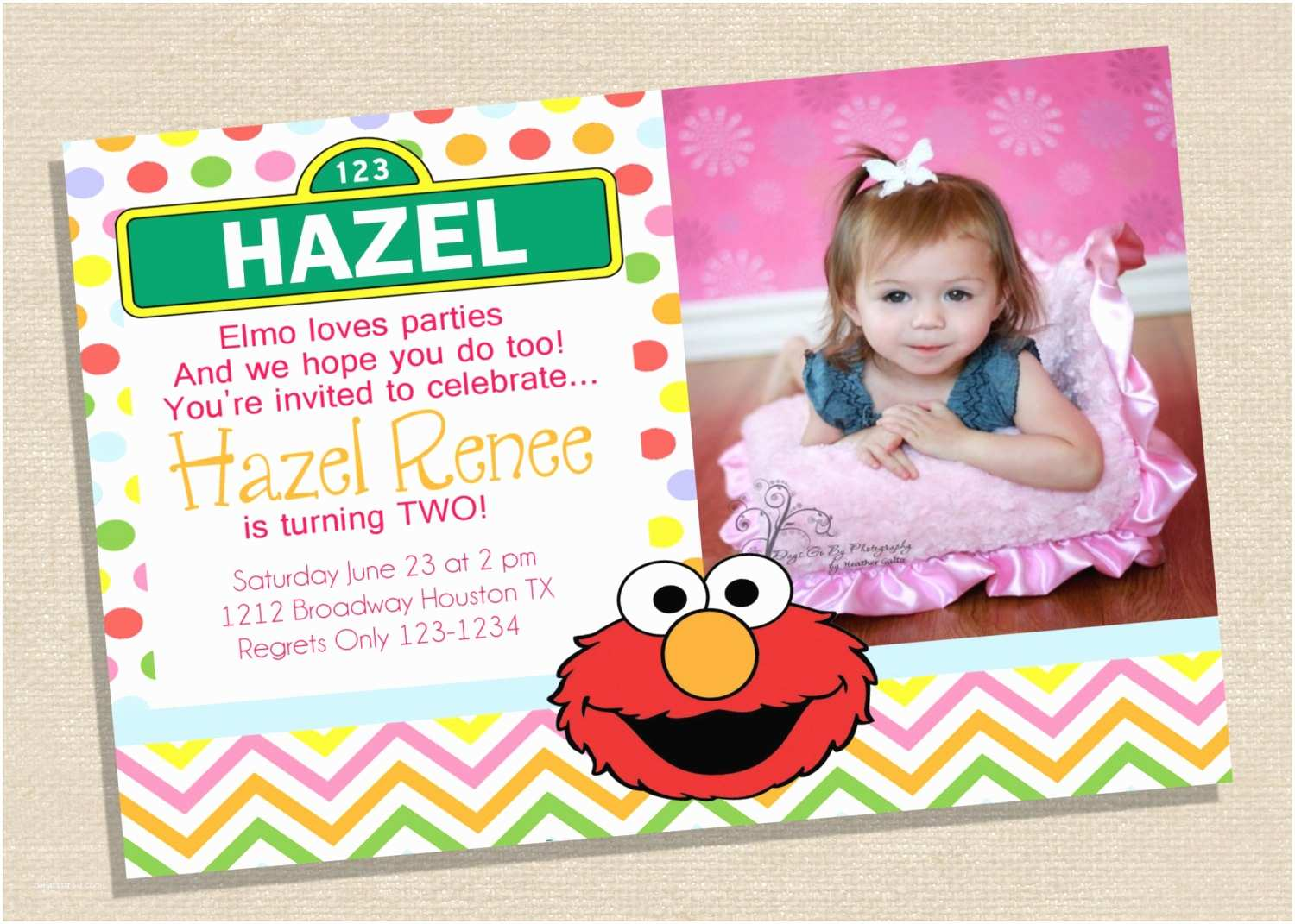 Elmo Birthday Party Invitations Elmo Birthday Invitation Sesame Street Invitation Pink