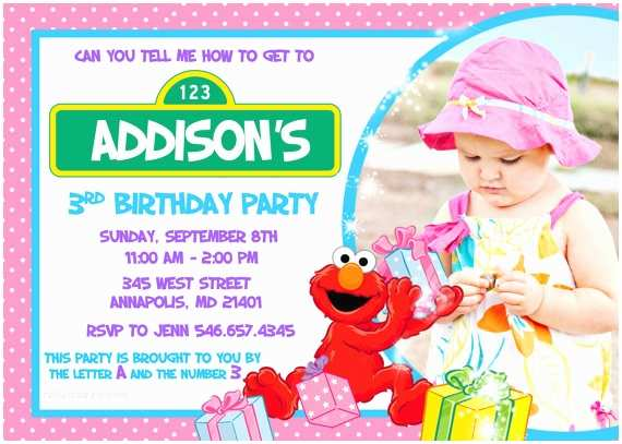 Elmo Birthday Party Invitations Elmo Birthday Party Pink Girl Invitation Digital File