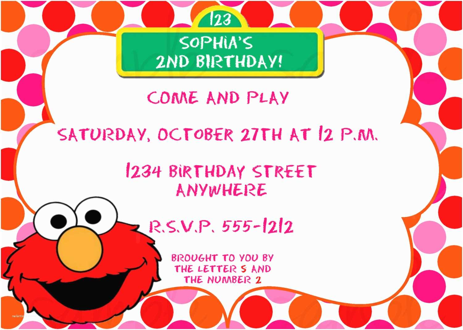 Elmo Birthday Party Invitations Elmo Girl Birthday Invitation