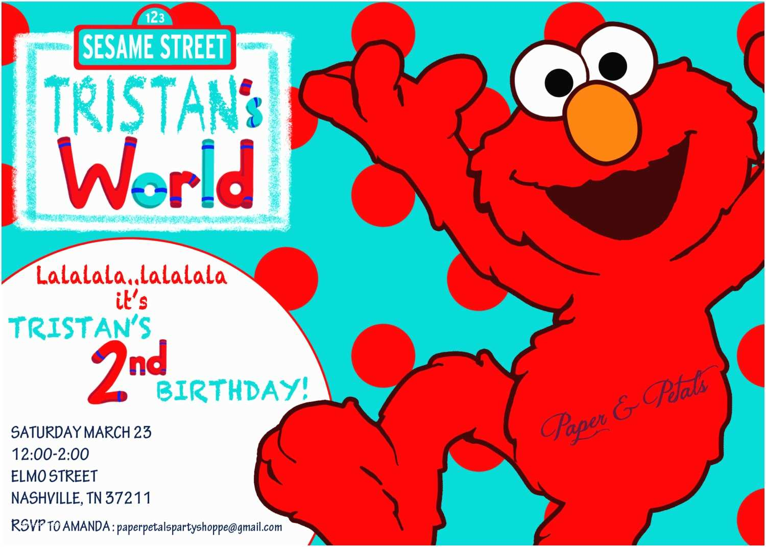 Elmo Birthday Party Invitations Elmo Inspired Birthday Invitation Aqua and Red Teal and Red