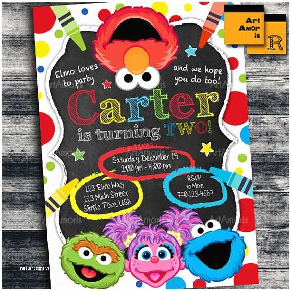 Elmo Birthday Party Invitations Elmo Invitation Elmo Birthday Invitation Art Party