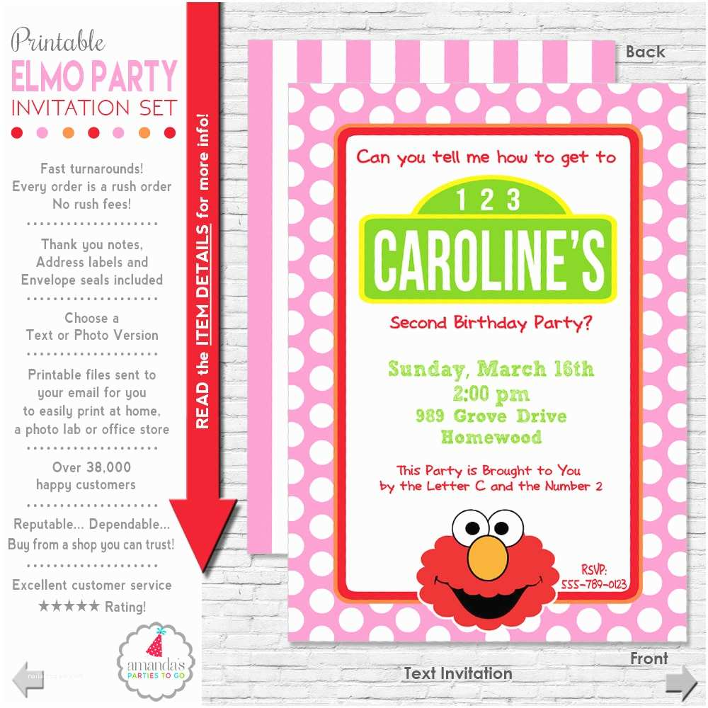 Elmo Birthday Party Invitations Elmo Invitation Elmo Birthday Invitation Girl Elmo Party