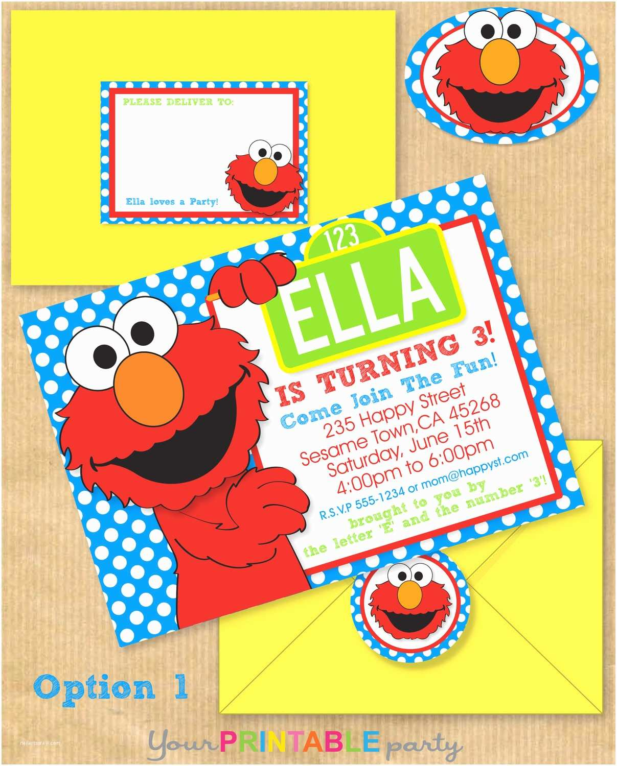 Elmo Birthday Party Invitations Elmo Party Invitation 5x7 with Address by Yourprintableparty
