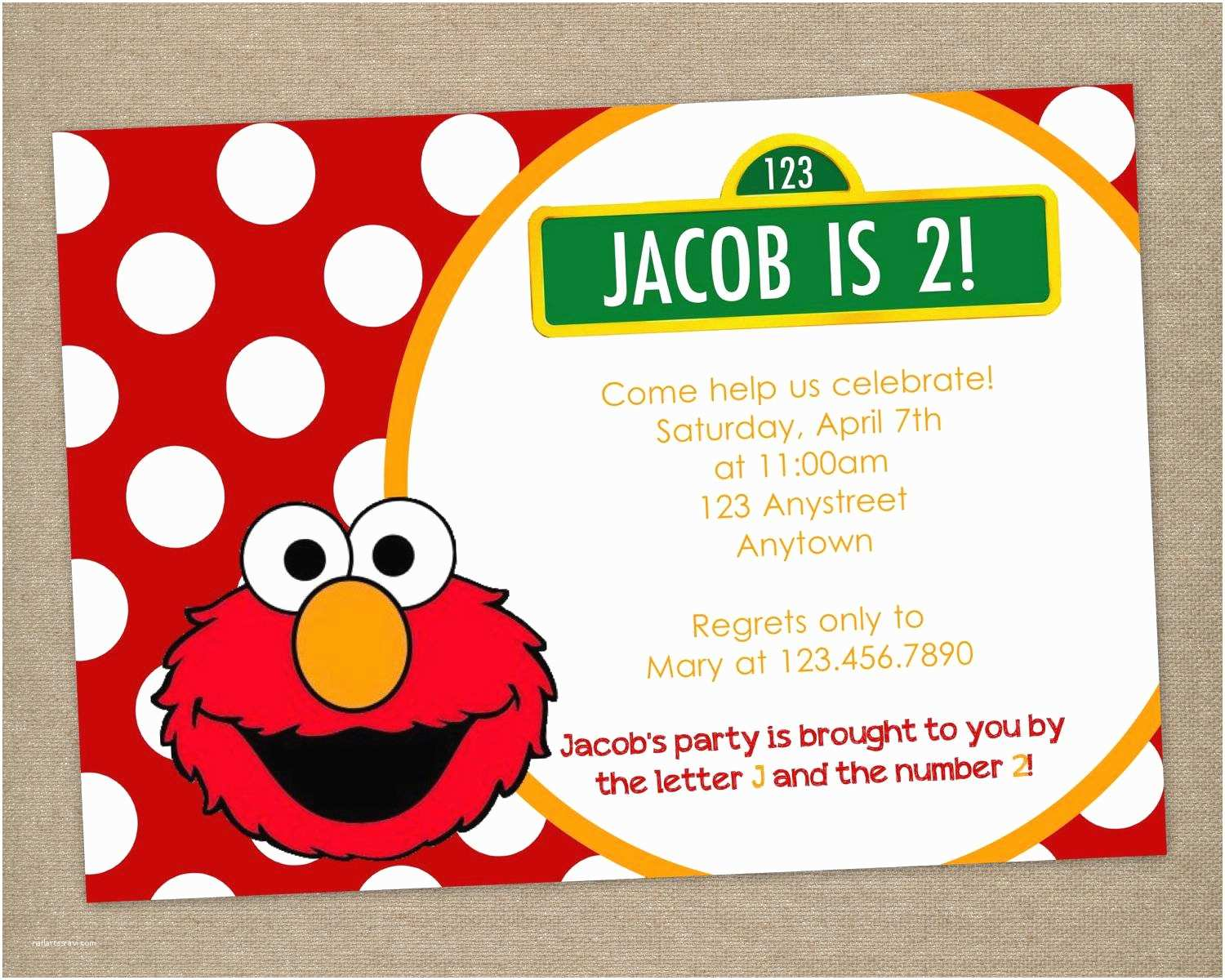 Elmo Birthday Party Invitations Elmo Party Invitations