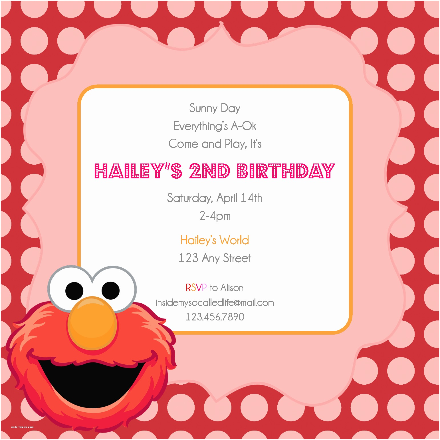 Elmo Birthday Party Invitations Elmo Printable Birthday Invitation