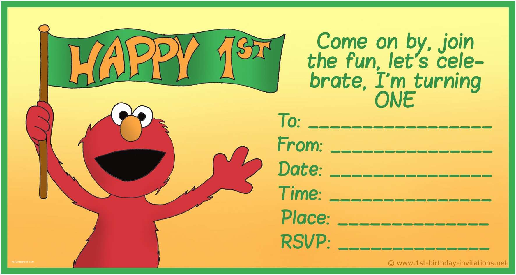Elmo Birthday Party Invitations Free Printable Sesame Street 1st Birthday Invitations