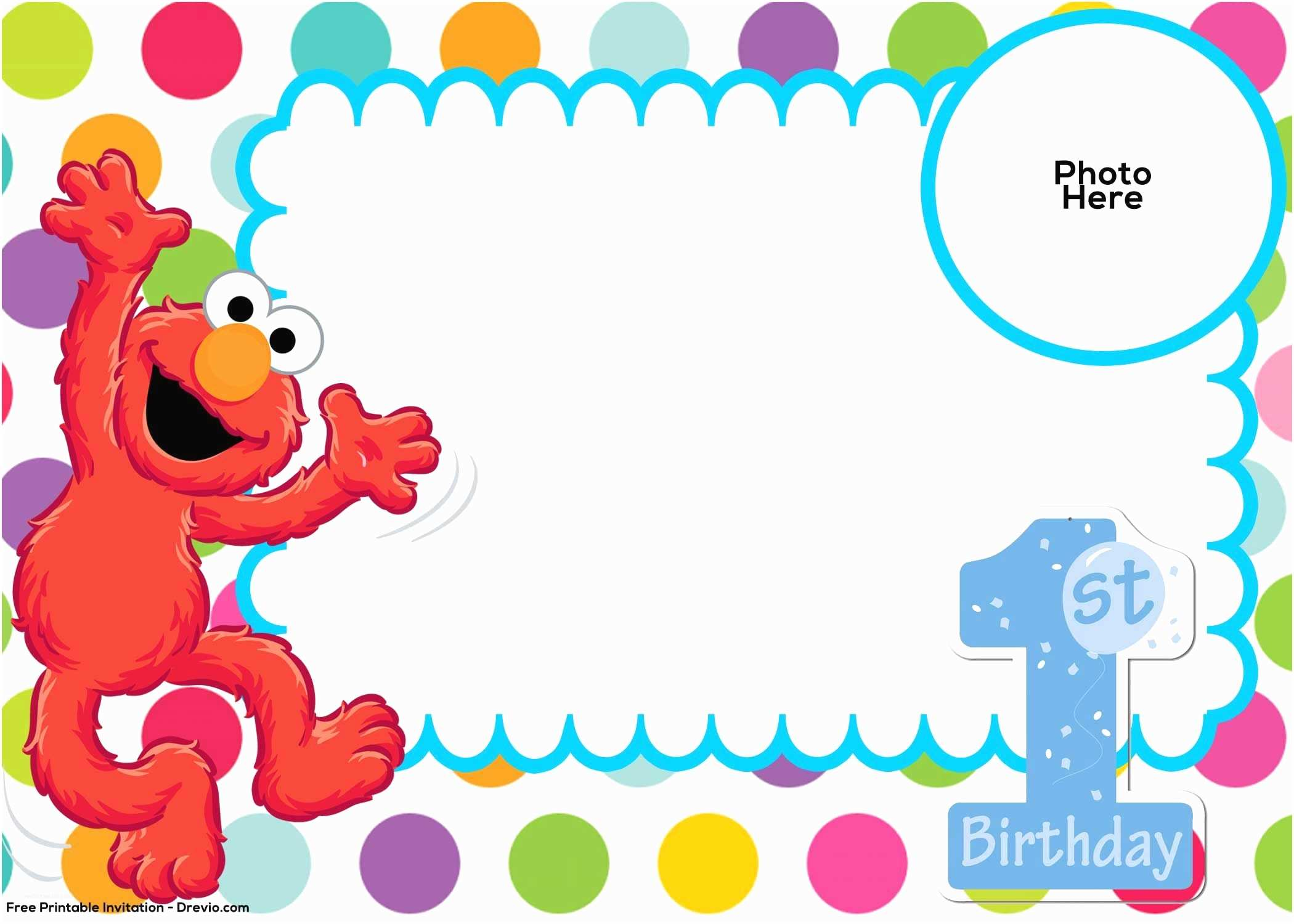 Elmo Birthday Party Invitations Free Sesame Street 1st Birthday Invitation Template