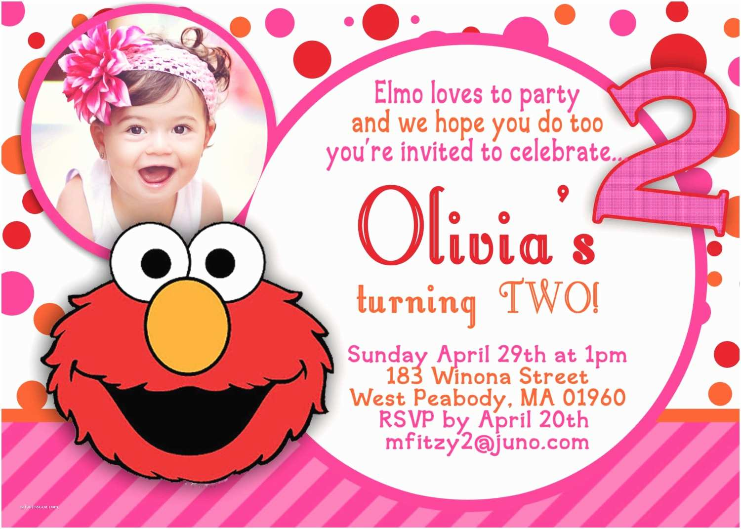 Elmo Birthday Party Invitations Hannah 2nd Birthday On Pinterest