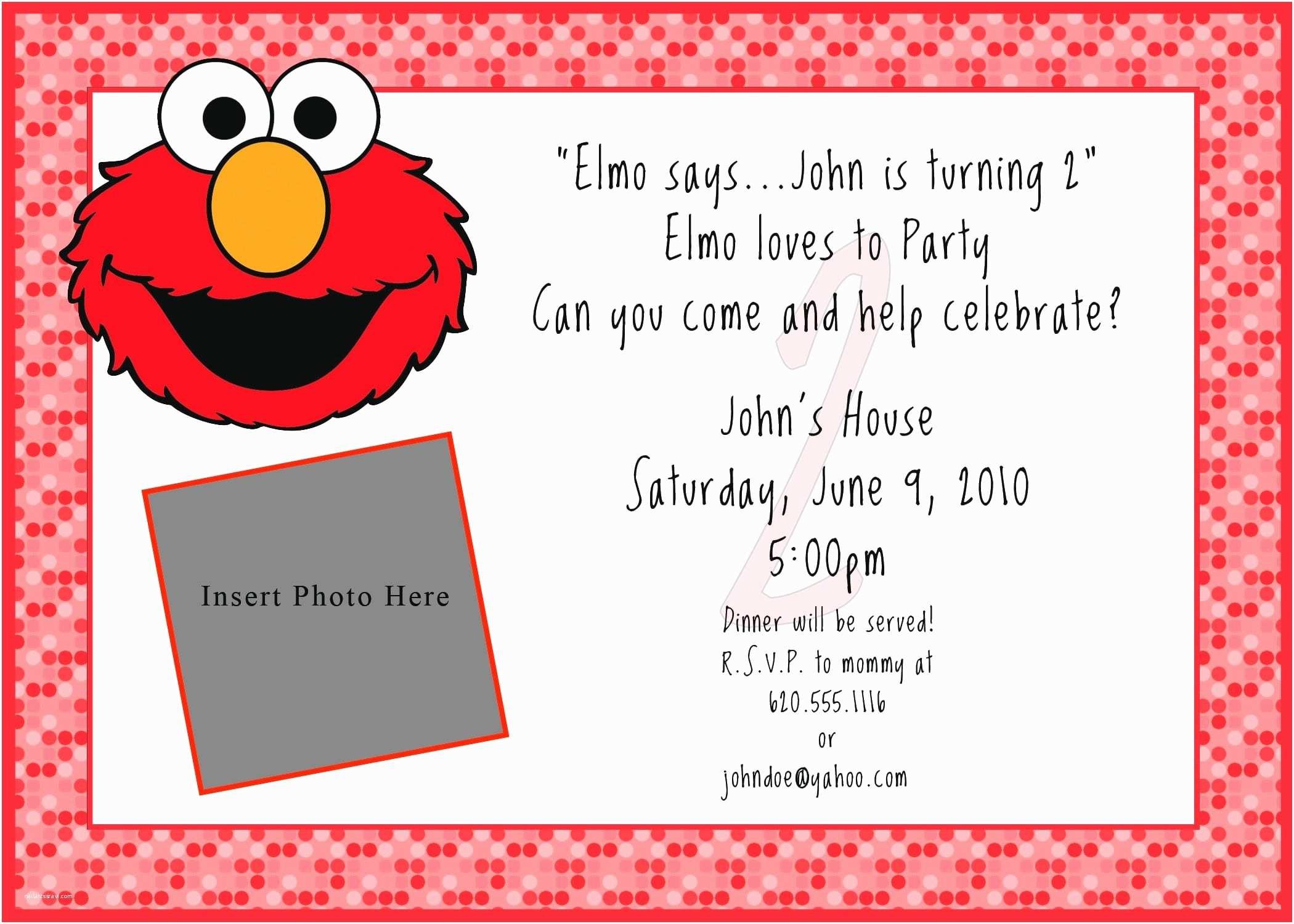 Elmo Birthday Party Invitations Printable Free Elmo Invitation