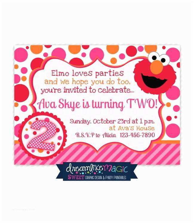 Elmo Birthday Party Invitations Printable Party Invitation Girly Elmo Pink orange and Red