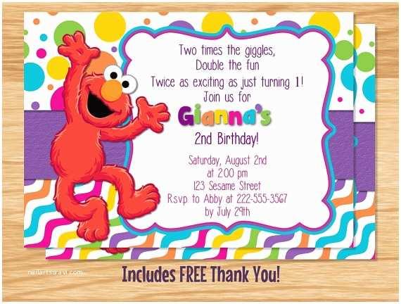 Elmo Party Invitations Custom Made Birthday Girl Invitation