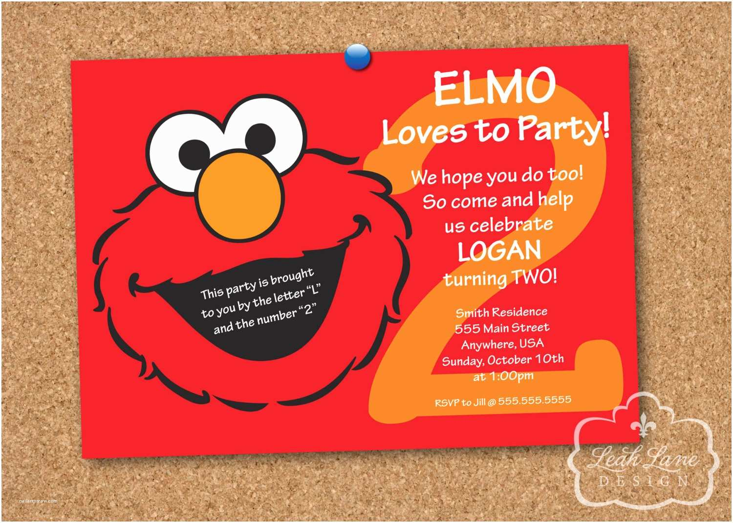 Elmo Party Invitations Sesame Street Birthday Personalized Printable