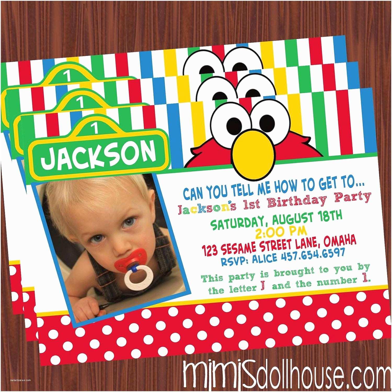 Elmo Party Invitations Sesame Street Invitations On Pinterest