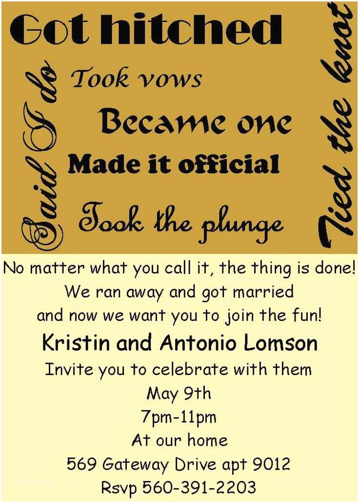 Elopement Party Invitations 17 Best Ideas About Wedding after Party On Pinterest
