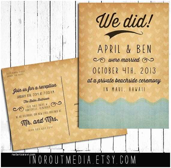 Elopement Party Invitations Beach Wedding Announcement Wedding Announcements the