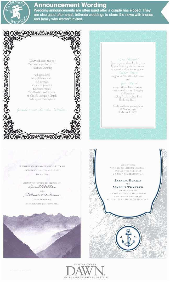 Elopement Party Invitations Elopement Announcement Wording From Invitationsbydawn