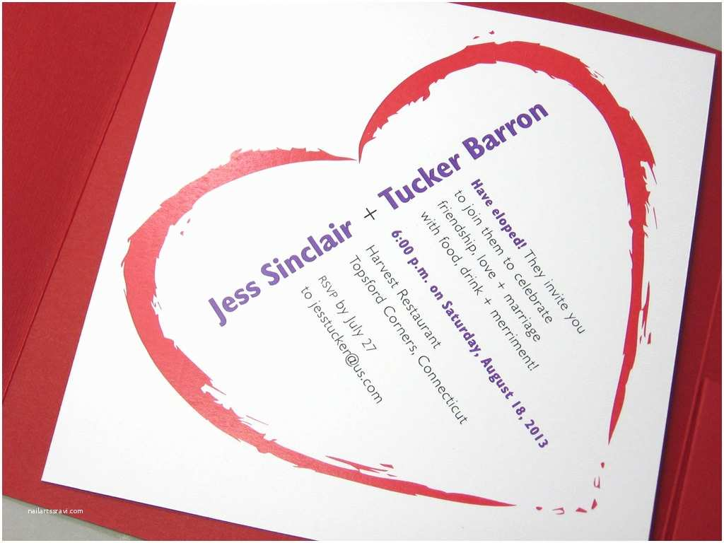 Elopement Party Invitations Elopement Party Invitation Pocketfold Bold Red Heart Quirky