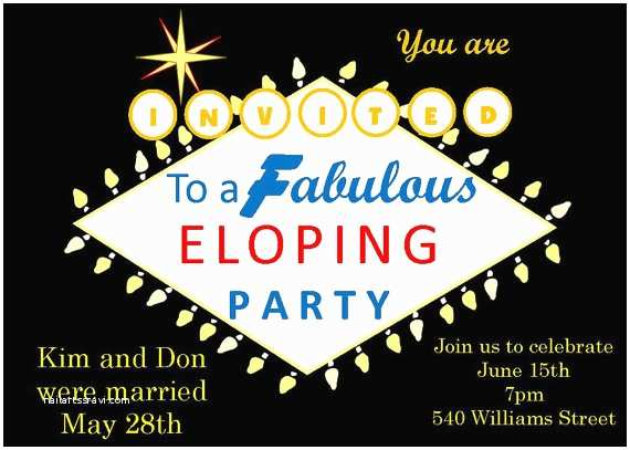 Elopement Party Invitations Eloping Party Invitations Las Vegas Sign 1970