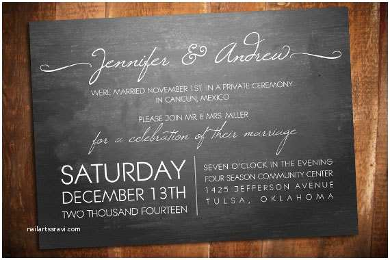 Elopement Party Invitations Modern Elopement Chalkboard Invite Reception Invite
